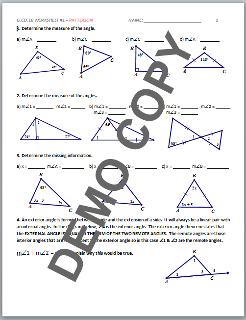 High School Geometry Mon Core Gcoc10 Proof Triangles Activities Patterson: Geometry 10 4 Worksheet Answers At Alzheimers-prions.com