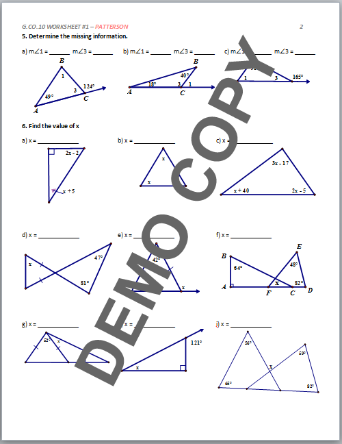High School Geometry Common Core GCOC10 Proof Triangles – Geometry Proofs Worksheets with Answers