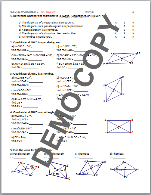 High School Geometry Common Core G.CO.C.11 - Proof ...