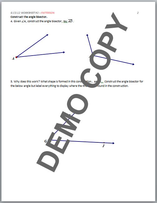 High School Geometry Common Core G Co D 12 Basic Constructions