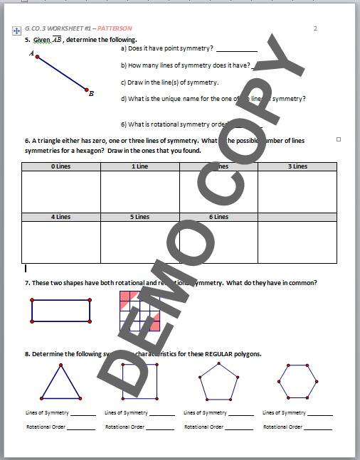 High School Geometry Common Core G.CO.A.3 - Symmetry ...