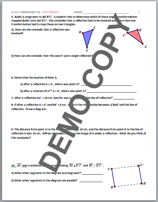 reflections worksheet 1 geometry g answers geometry honors g pap advanced pre. Black Bedroom Furniture Sets. Home Design Ideas