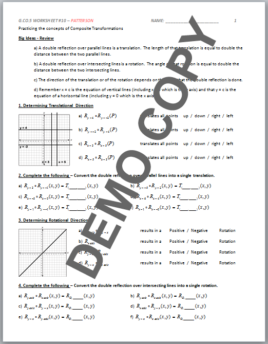 High School Geometry Mon Core Gcoa5 Sequences Of. View Page 2 Contents. Worksheet. Posite Transformations Worksheet At Clickcart.co