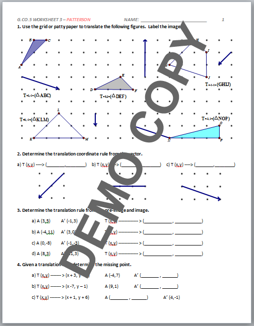 High School Geometry Common Core GCOA5 Sequences of – High School Geometry Worksheets