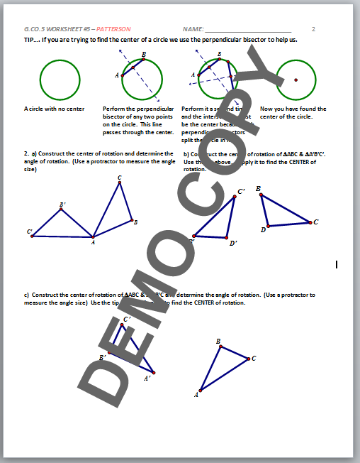 High School Geometry Mon Core Gcoa5 Sequences Of. View Page 2 Contents. Worksheet. Geometry G Rotations Worksheet 1 Answers At Mspartners.co