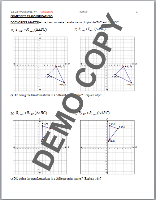 High School Geometry Common Core Ga5 Sequences Of
