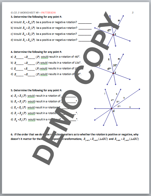 High School Geometry Common Core G.CO.A.5 - Sequences of ...