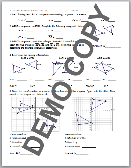 High School Geometry Common Core G.CO.B.7 - Congruence ...