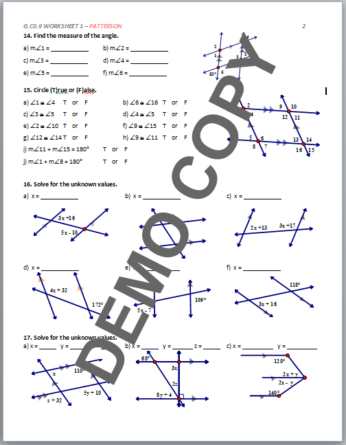 High School Geometry Common Core G.CO.9 - Proof (Lines & Angles ...