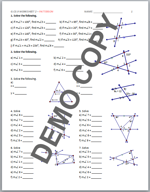 High School Geometry Common Core G.CO.C.9 - Proof (Lines ...
