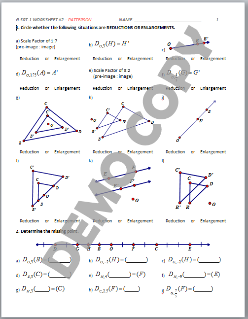 High School Geometry Common Core G.SRT.A.1 - Dilation ...