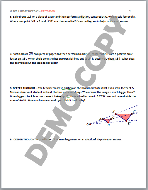 High School Geometry Common Core G.SRT.A.1 - Dilation Properties ...