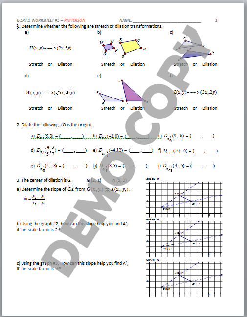 High School Geometry Common Core GSRTA1 Dilation Properties – Dilation Worksheet