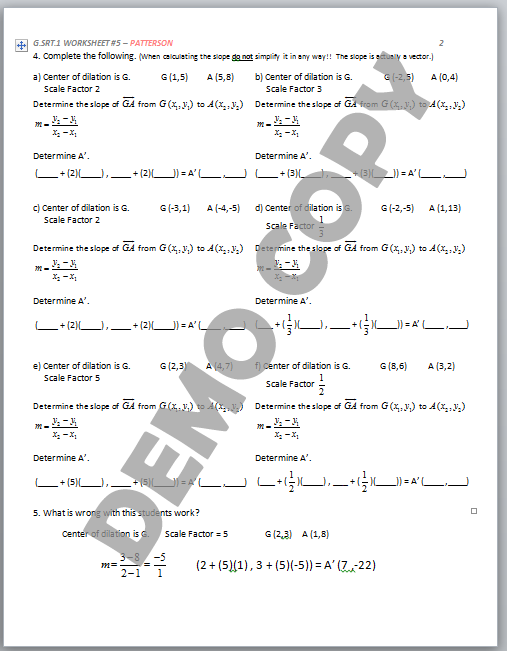 High School Geometry Common Core GSRTA1 Dilation Properties – Scale Factor Worksheet