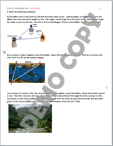 10 worksheet 6 solving a triangle using the law of cosines view page ...