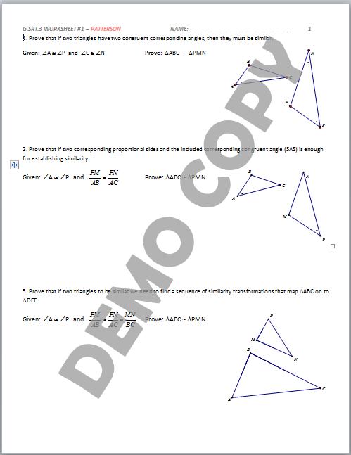 High School Geometry Common Core G.SRT.A.3 - Similarity Criteria ...