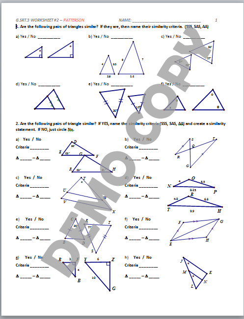 High School Geometry Common Core G.SRT.A.3 - Similarity Criteria ...