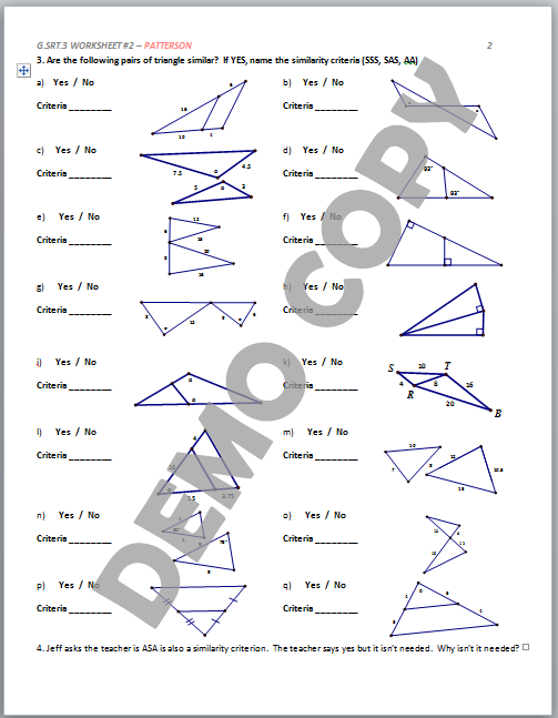 High School Geometry Common Core GSRTA3 Similarity Criteria – Geometry Worksheet Congruent Triangles Answers