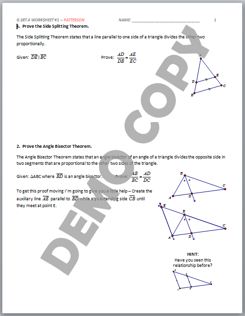 High School Geometry Common Core GSRTB4 Proof Triangles – Angle Bisector Worksheet
