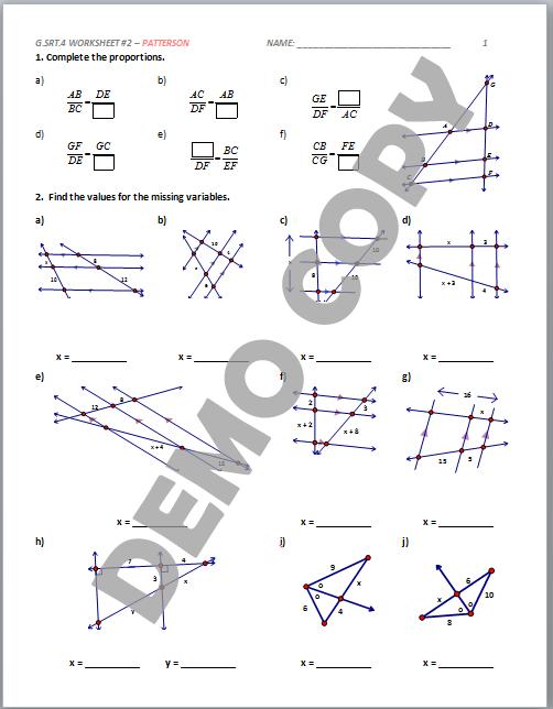 High School Geometry Common Core G.SRT.B.4 - Proof (Triangles ...