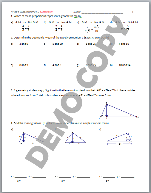 8 1 Geometric Mean Worksheet Glencoe glencoe health worksheets – Glencoe Geometry Worksheet Answers