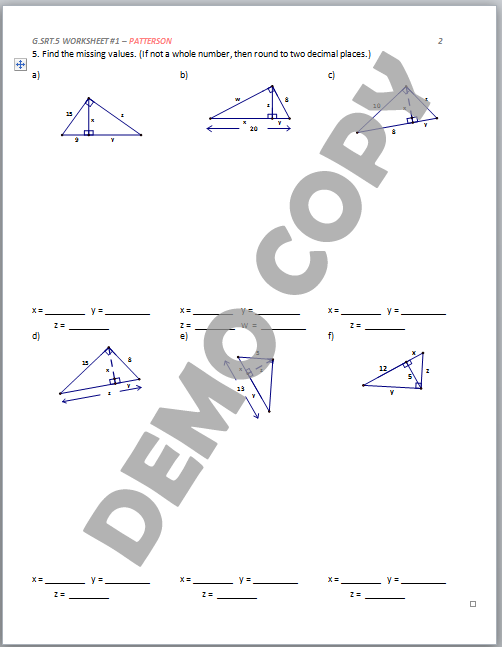 ... Geometric Mean & Special Right Triangles - Activities - Patterson