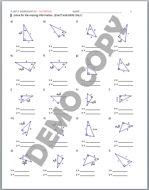 Printables Geometric Mean Worksheet high school geometry common core g srt b 5 geometric mean view page 3 contents
