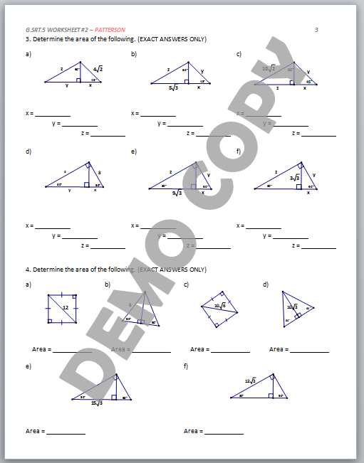 High School Geometry Common Core GSRTB5 Geometric Mean – Geometry Special Right Triangles Worksheet