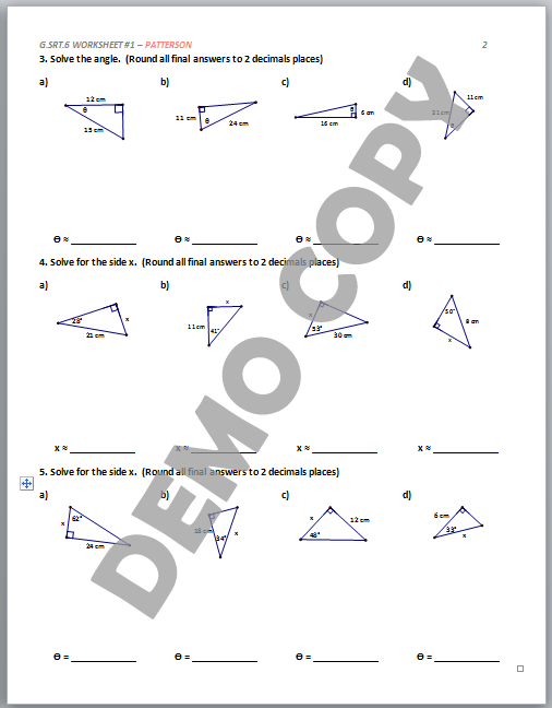 High School Geometry Common Core G.SRT.C.6 Trigonometric ...