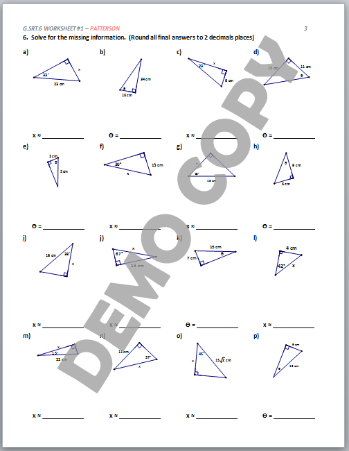 High School Geometry Common Core G.SRT.C.6 Trigonometric ...