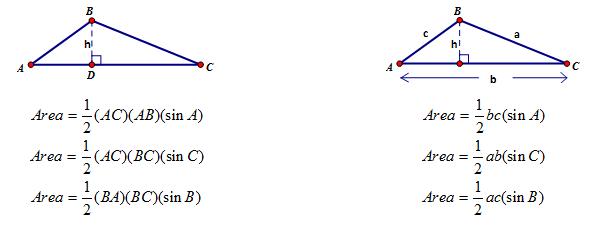 area 1 2 absinc Formulas for finding the area, perimeter, etc of a triangle  mb = sqrt(4a2+b2)/2  mc = c/2 ta = 2bc cos(a/2)/(b+c) = sqrt[bc(1-a2/[b+c]2)]  ab sin(c)/(2 s) .