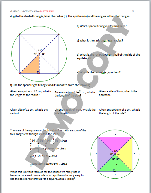 High School Geometry Common Core G.GMD.A.1 - Derive Volume Formulas ...