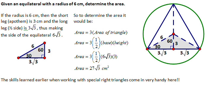 how to solve the area of a equilateral triangle