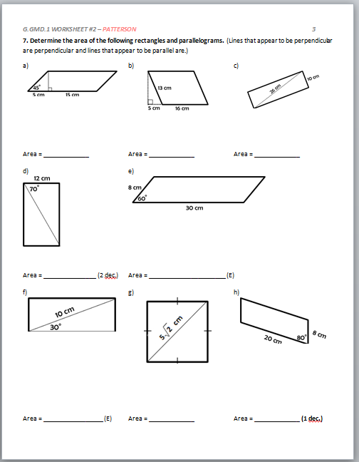 High School Geometry Mon Core Ggmda1 Derive Volume Formulas. View Page 4 Contents. Worksheet. Area Of Parallelograms Worksheets At Mspartners.co