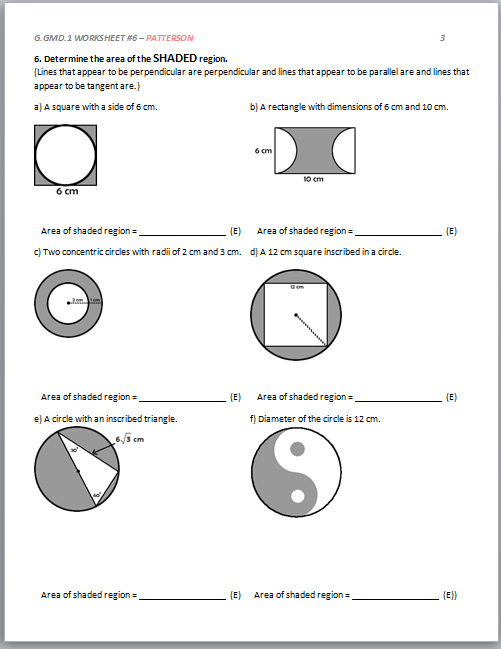 High School Geometry Common Core GGMDA1 Derive Volume – Find the Area of the Shaded Region Worksheet