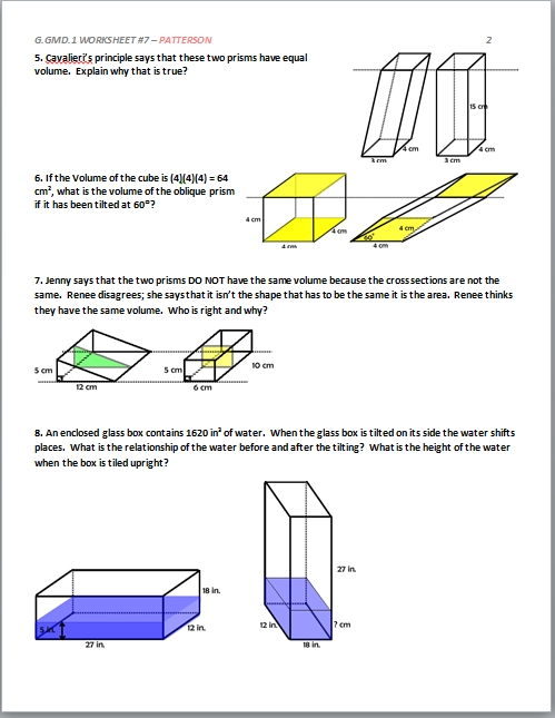 High School Geometry Common Core G.GMD.A.1 - Derive Volume ...