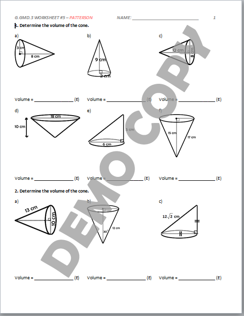High School Geometry Common Core G.GMD.A.3 - Applying Volume ...