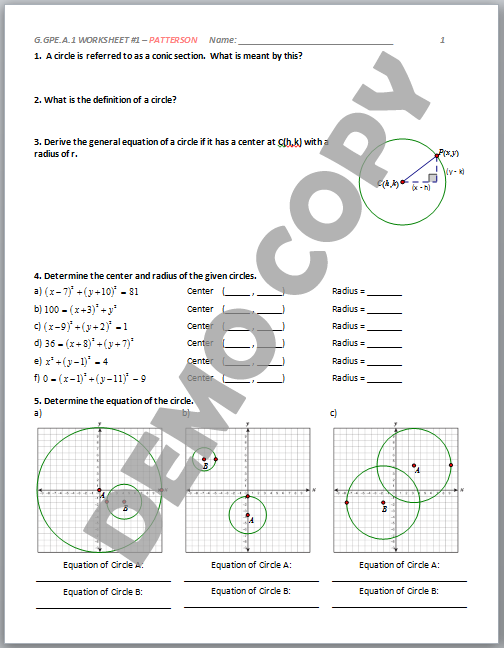 High School Geometry Common Core Gea1 Derive Equation Of