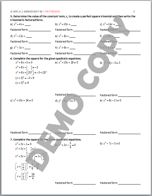 High School Geometry Common Core GGPEA1 Derive Equation of – Perfect Square Trinomial Worksheet