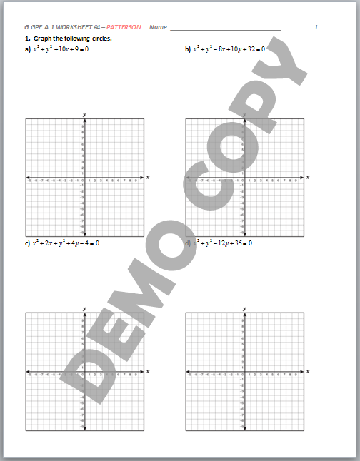 High School Geometry Common Core GGPEA1 Derive Equation of – Graphing Circles Worksheet