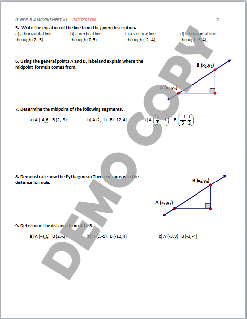 Geometry worksheets high school with answers free
