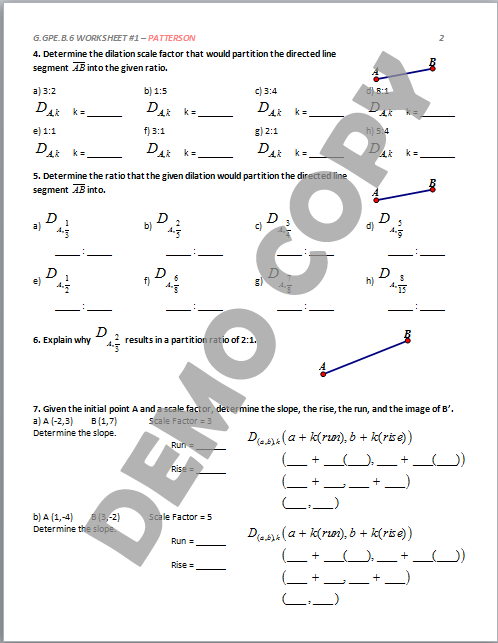 High School Geometry Common Core Geb6 Partitioning A Line