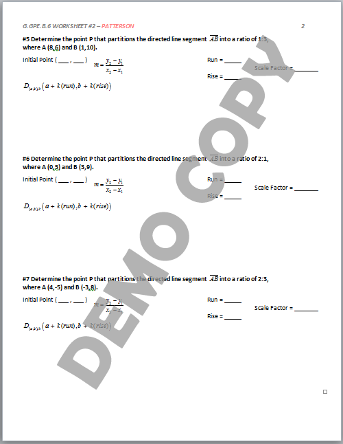 High School Geometry Common Core GGPEB6 Partitioning a Line – Line Segment Worksheets