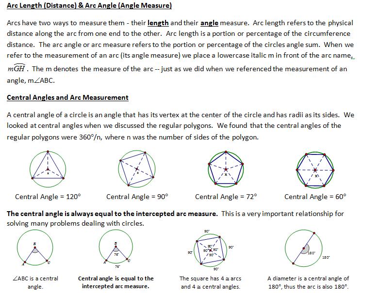 High School Geometry Common Core GCA2 Circle Properties – Properties of Circles Worksheet
