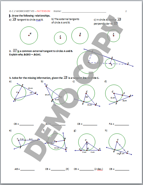 High School Geometry Common Core GCA2 Circle Properties – Tangents to Circles Worksheet