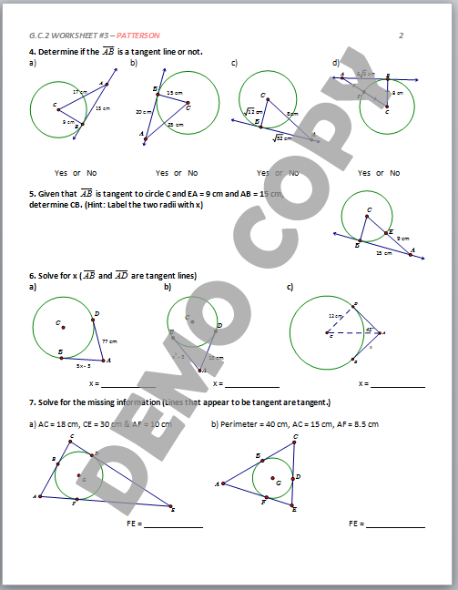 Area and circumference of a circle independent practice worksheet answer key