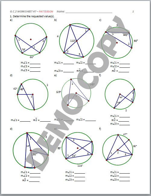 High School Geometry Common Core GCA2 Circle Properties – Geometry Circles Worksheet