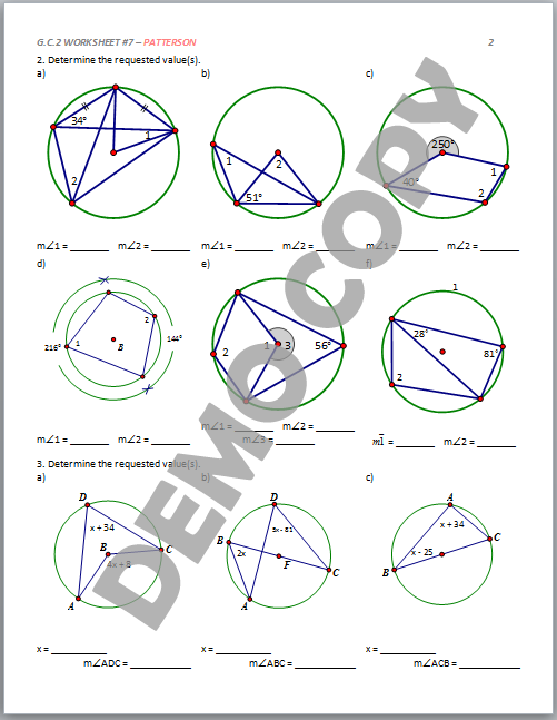 Inscribed Angle Worksheet Templates and Worksheets – Central and Inscribed Angles Worksheet