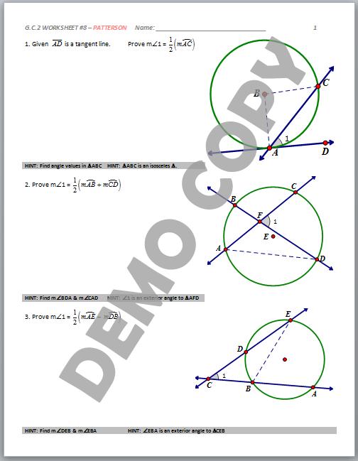 High School Geometry Common Core GCA2 Circle Properties – Inscribed Angle Worksheet