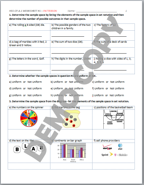 High School Geometry Common Core HSSCPA1 Sample Spaces Venn – Sample Space Worksheet